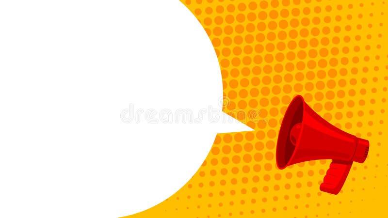 Megafoon witte bel voor sociale media die concept op de markt brengen De vector kondigt voor marketing aan royalty-vrije illustratie