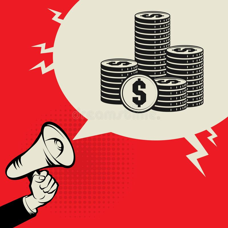 Megafoonhand, bedrijfsconcept met teken van geld of muntstukken royalty-vrije illustratie
