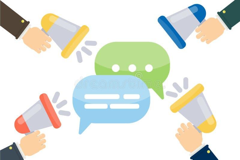 Megafoons met Toespraakbellen stock illustratie