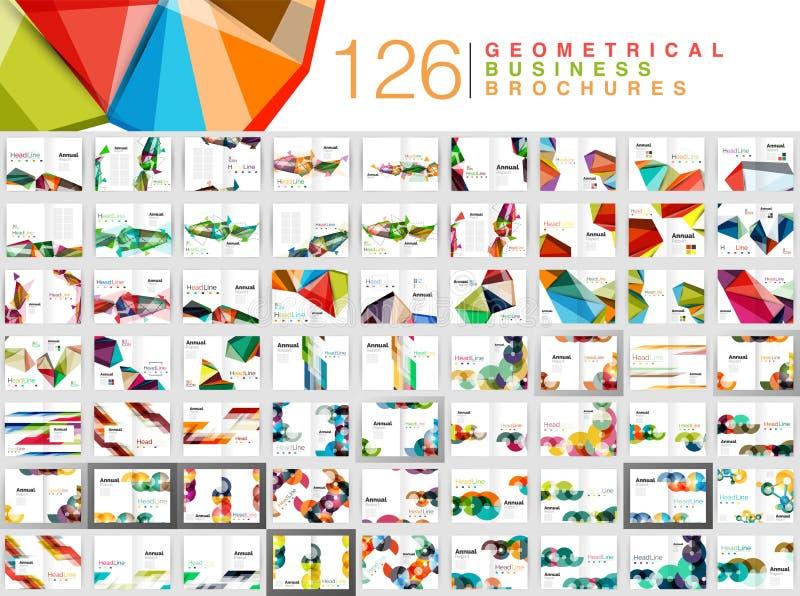 Megainzameling van bedrijfsbrochuremalplaatjes, de drukmalplaatjes van de jaarverslagdekking royalty-vrije illustratie
