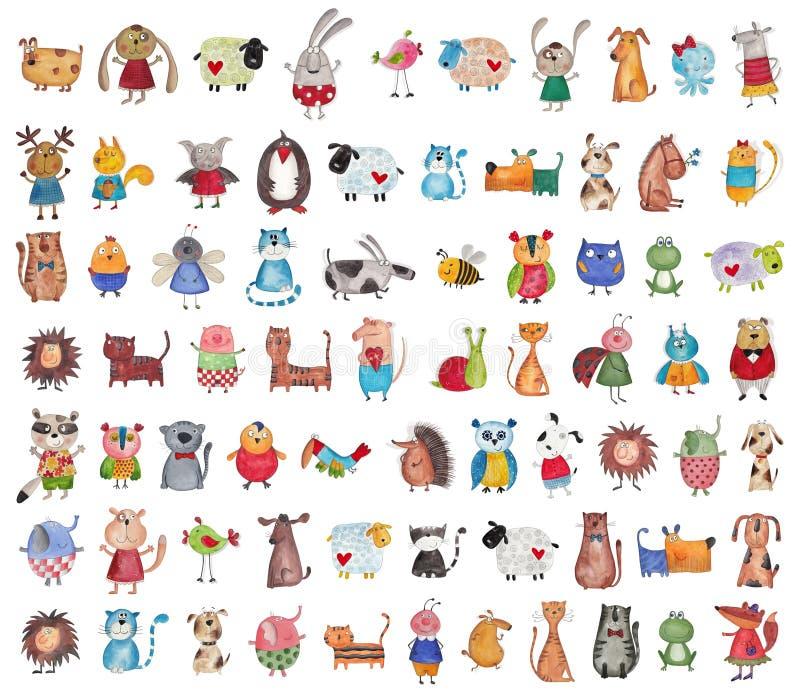Megainzameling van beeldverhaalhuisdieren royalty-vrije illustratie