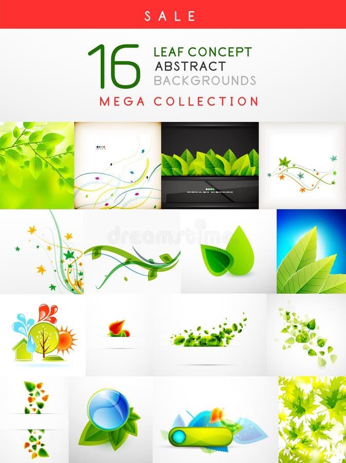 Megainzameling van blad abstracte achtergronden vector illustratie