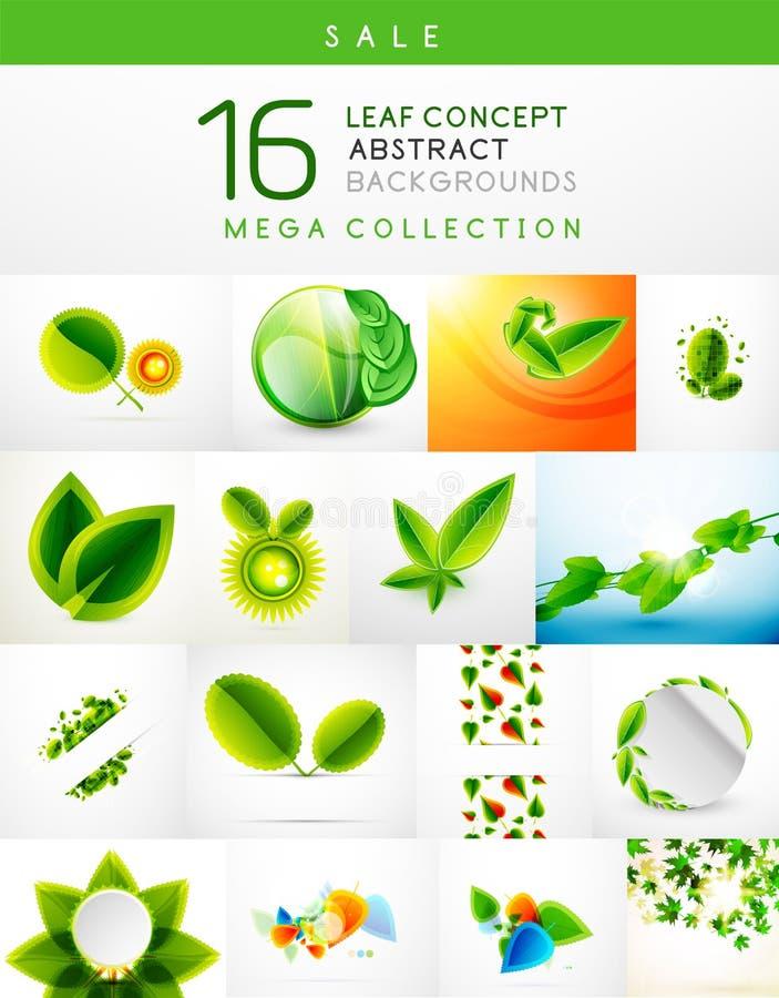Megainzameling van blad abstracte achtergronden royalty-vrije illustratie