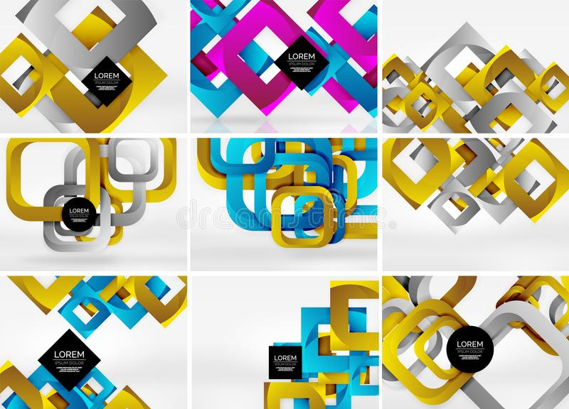 Megainzameling van 3d vorm vector abstracte achtergronden met gesneden stijl 3d geometrische vormen - lijnen, vierkanten, rechtho royalty-vrije illustratie