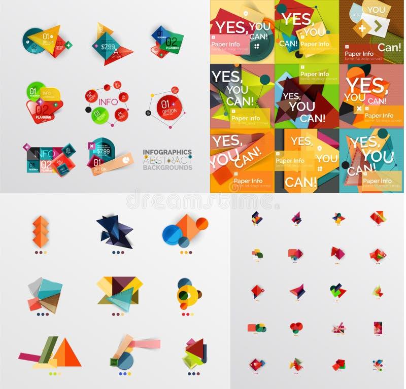 Megainzameling van document grafische banners, etiketten royalty-vrije illustratie