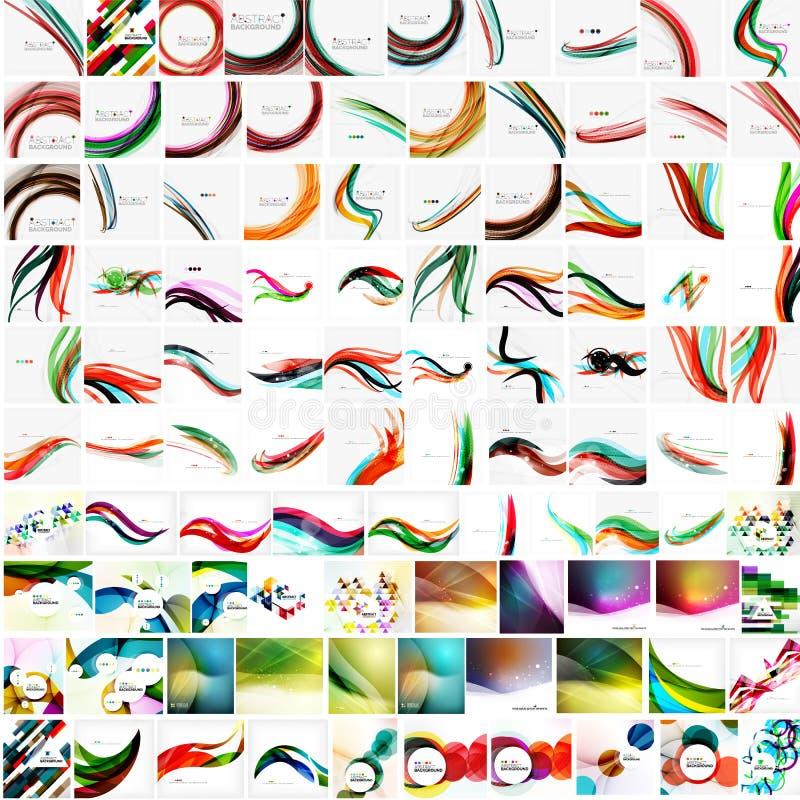 Megainzameling van geometrische abstracte achtergronden royalty-vrije illustratie