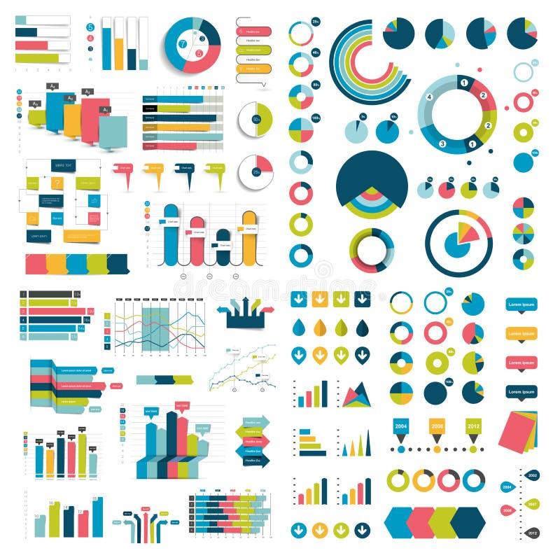 Megainzameling van grafieken, grafieken, stroomschema's, diagrammen en infographicselementen vector illustratie