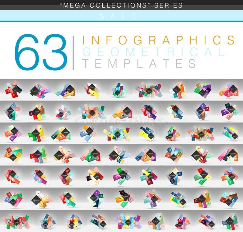Megainzameling van kleuren de geometrische infographic of malplaatjes van de Webbanner met de tekst van de steekproef abc optie vector illustratie