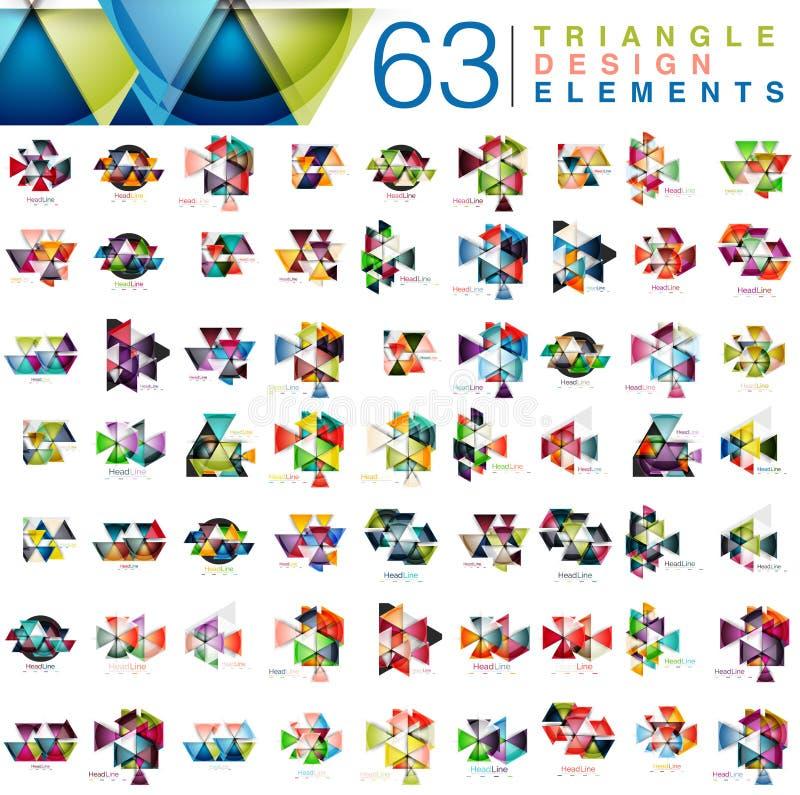 Megainzameling van 63 moderne abstracte het ontwerpelementen van kleurendriehoeken vector illustratie