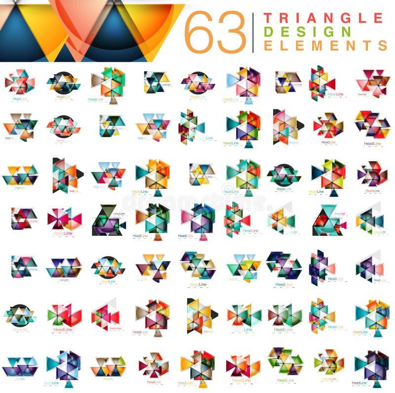 Megainzameling van 63 moderne abstracte het ontwerpelementen van kleurendriehoeken royalty-vrije illustratie