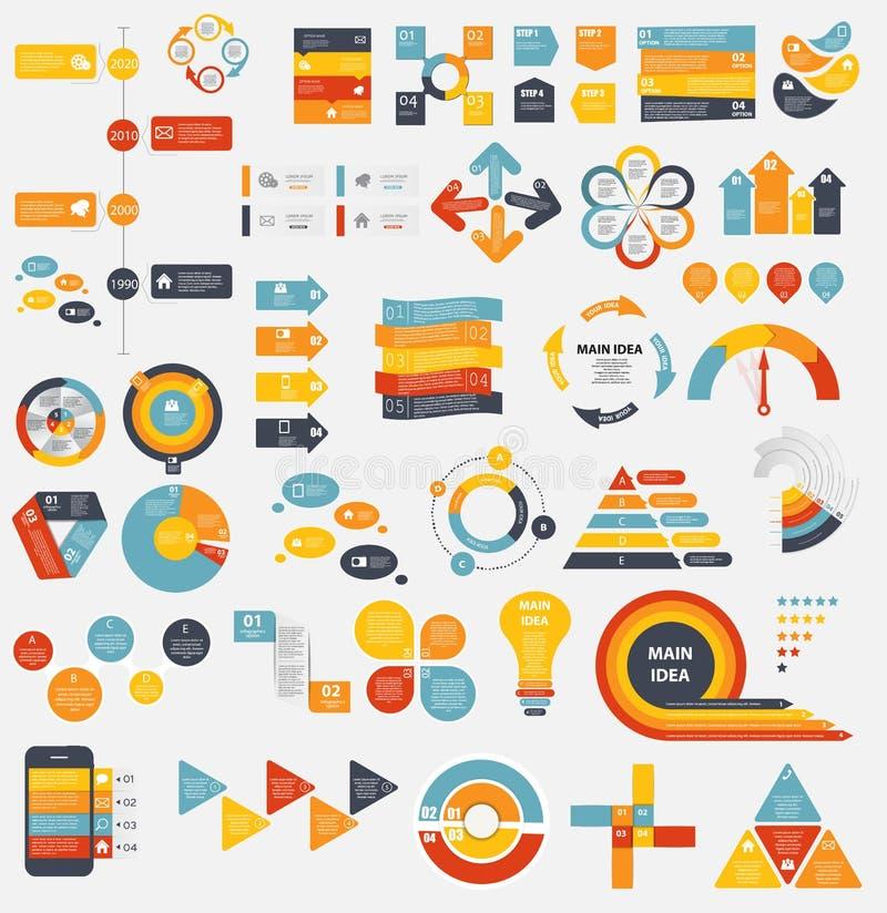 Megainzameling van Vlakke Infographic-Malplaatjes voor vector illustratie
