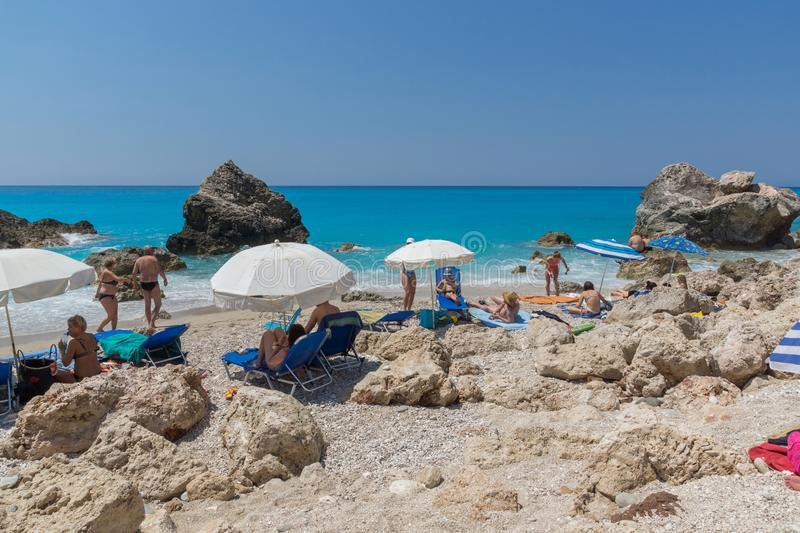 Panoramic view of blue waters of Megali Petra Beach, Lefkada, Ionian Islands, stock photography