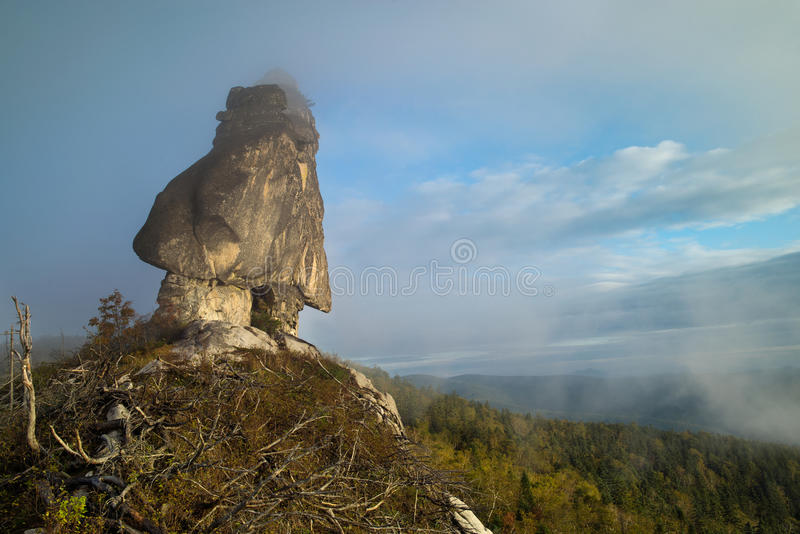 Megalith called Shaman. Beautiful places of the Far East of Russia stock photos