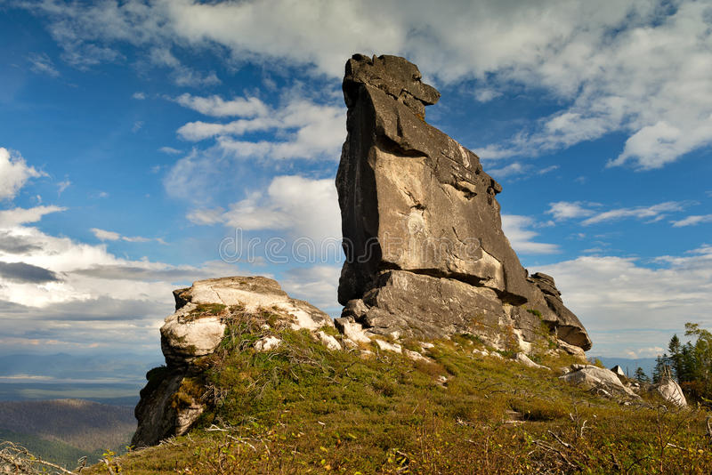 Megalith called Shaman. Beautiful places of the Far East of Russia stock photo