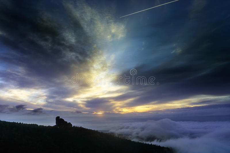 Megalith called Shaman. Dawn on the southern wall. Megalith called Shaman royalty free stock photos