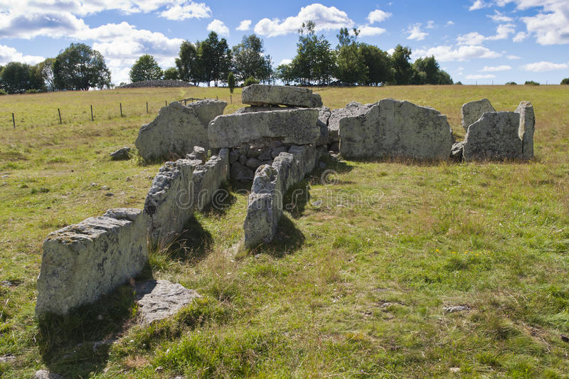 Megalith grave. Girommen in a field at Ekornavallen in Sweden stock photo