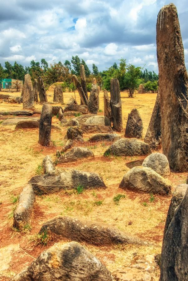Megalithen-Tiya-Steins?ulen, eine UNESCO-Welterbest?tte nahe Addis Abbaba, ?thiopien lizenzfreies stockfoto