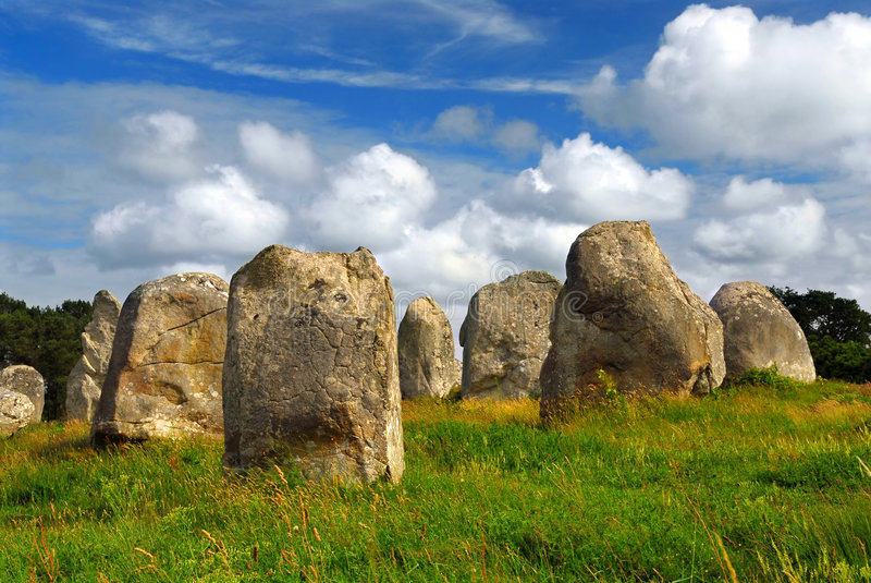 Megalithic monuments in Brittany. Prehistoric megalithic monuments menhirs in Carnac area in Brittany, France royalty free stock photo