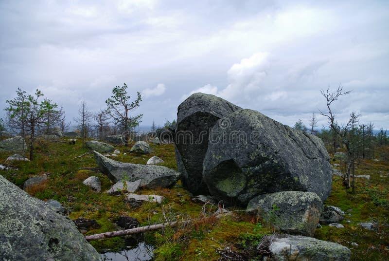 Megalithic stone -`seid`,  on mountain Vottovaara, Karelia, Russiastone -. Megalithic stone -`seid`, on mountain Vottovaara, Karelia, Russia stock image