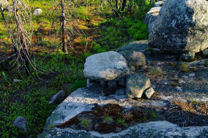 Megalithic stone -`seid`,  on mountain Vottovaara, Karelia, Russia. Megalithic stone -`seid`, on mountain Vottovaara, Karelia, Russia stock photography