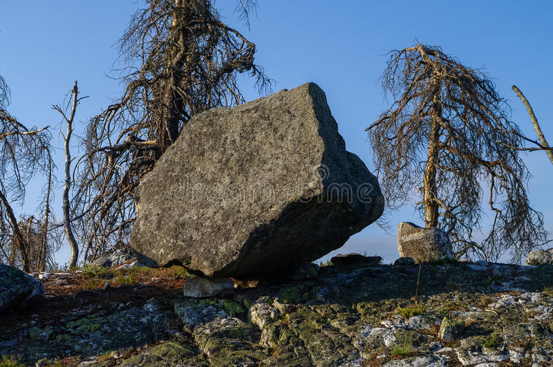 Megalithic stone -`seid`, on mountain Vottovaara, Karelia royalty free stock image