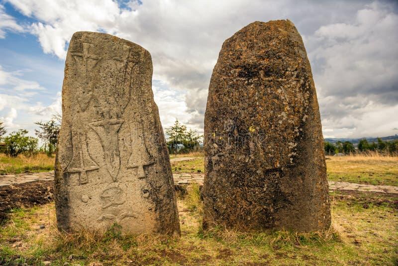 Megalithic Tiya stone pillars, Addis Ababa, Ethiopia stock photo