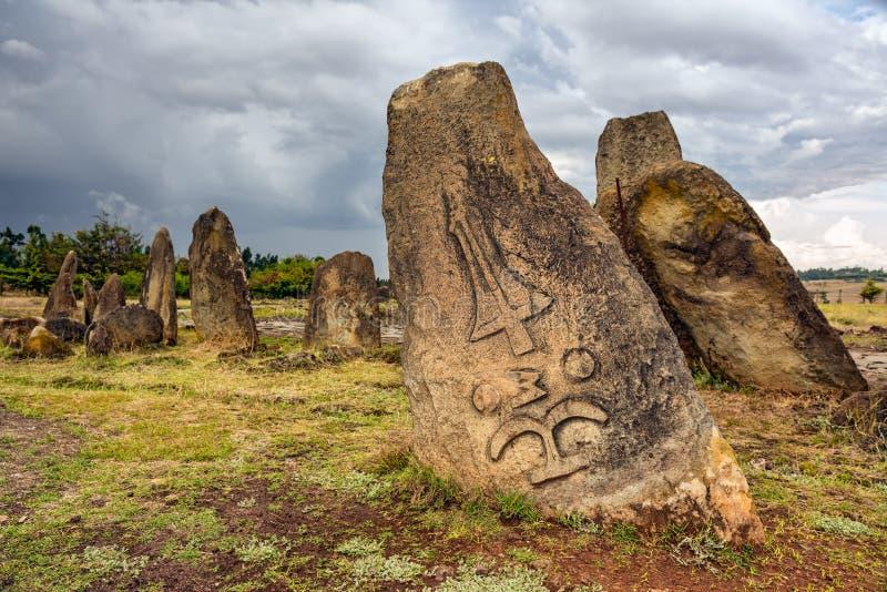 Megalitiska Tiya stenpelare, Addis Ababa, Etiopien royaltyfri foto