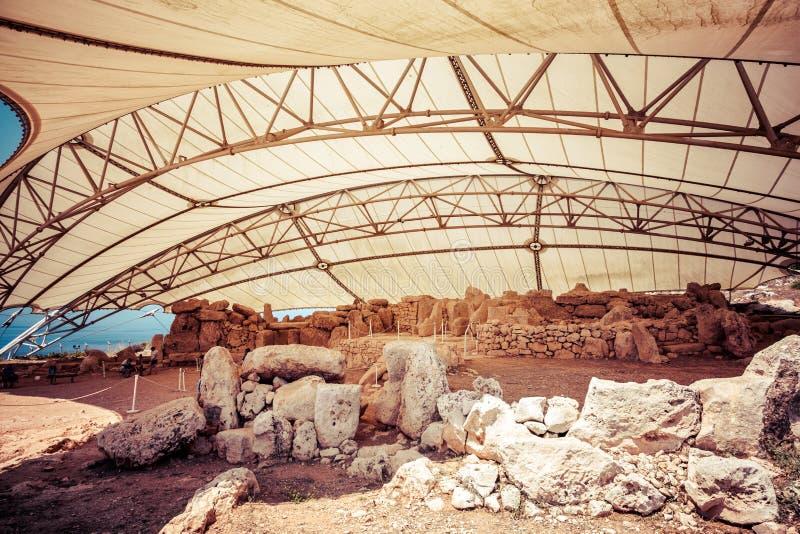 Megalitiskt tempelkomplex - Hagar Qim i Malta fotografering för bildbyråer