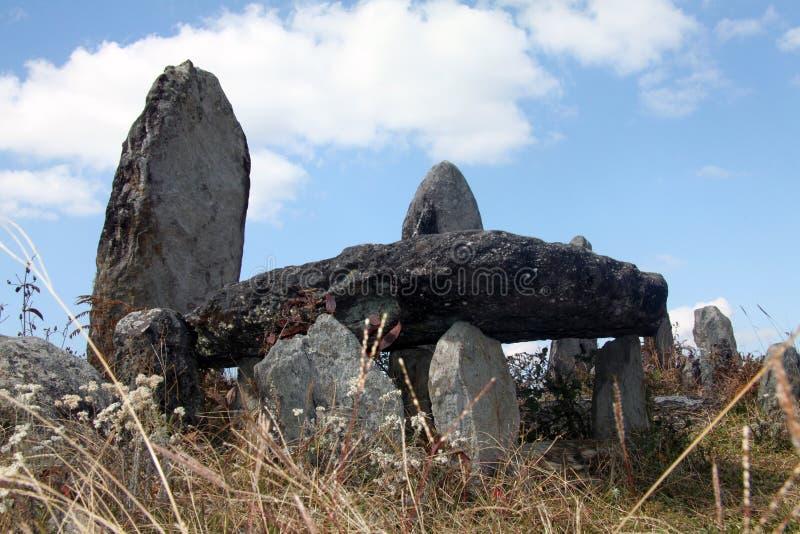Megality w Mawphlang świętym lesie zdjęcia stock