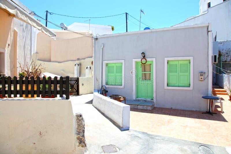 Megalochori传统村庄在圣托里尼,希腊 免版税库存图片