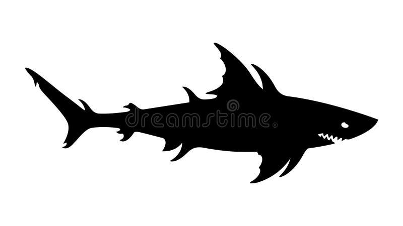 Megalodon, squalo gigante, mostro marino, mutante acquatico, creatura del pericolo illustrazione di stock