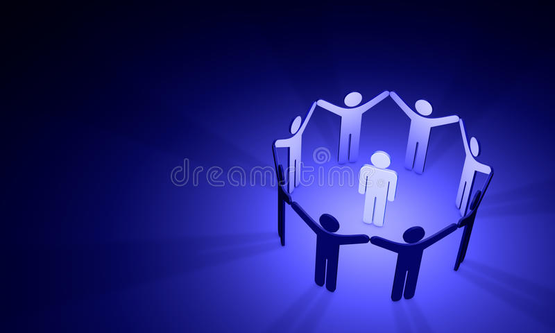Megalomania symbolic figures of people. 3D illustration stock images