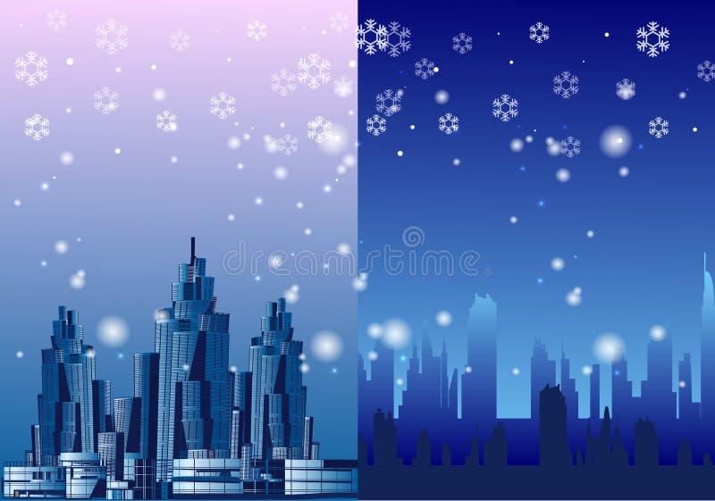 Megalopolis χειμερινών πόλεων χιονώδης, διανυσματική απεικόνιση στοκ εικόνα με δικαίωμα ελεύθερης χρήσης