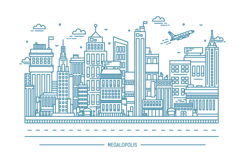 Megalopolis, duży miasta życie, konturowa kreskowej sztuki ilustracja royalty ilustracja