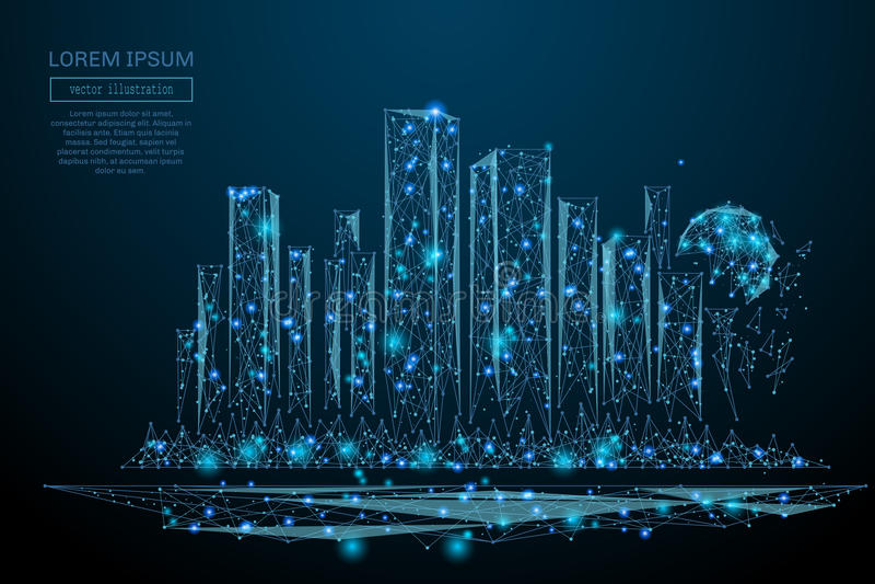 Megalopolis laag polyblauw stock illustratie