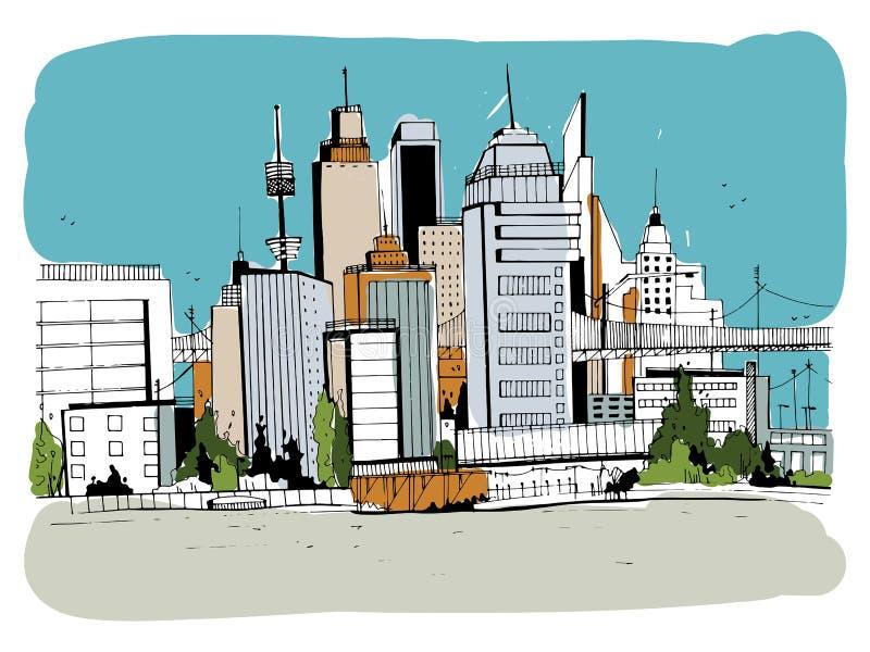 Megalopolisstad, straatillustratie Hand getrokken kleurrijk schetslandschap met gebouwen, cityscape, bureau in overzicht vector illustratie