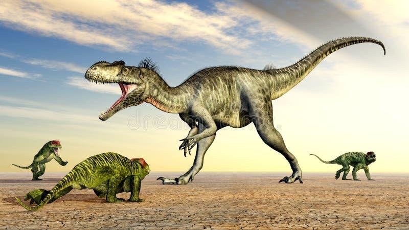Megalosaurus och Doliosauriscus stock illustrationer
