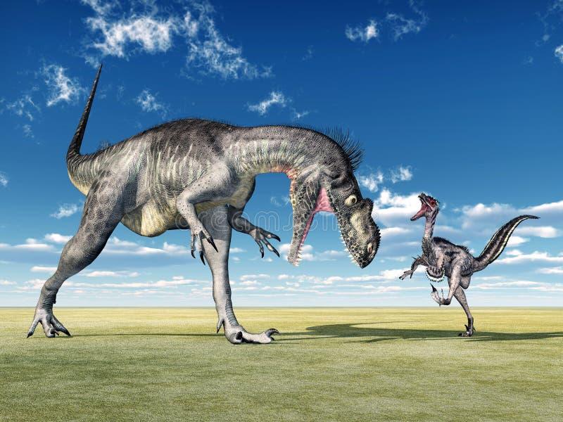 Megalosaurus och Velociraptor vektor illustrationer