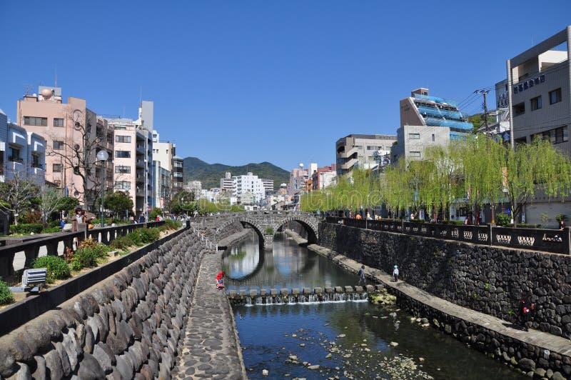 Megane桥梁或眼镜桥梁在长崎,九州,日本 免版税图库摄影