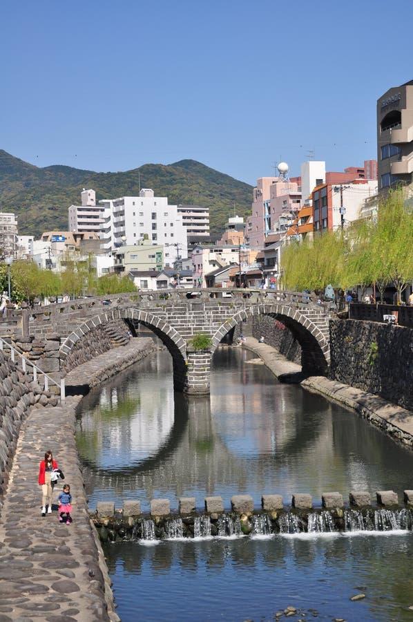 Megane桥梁或眼镜桥梁在长崎,九州,日本 库存照片