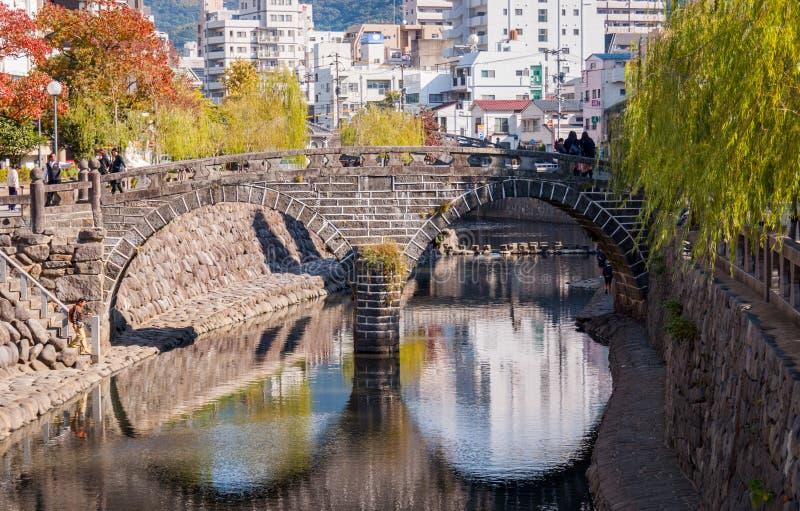 Megane-bashi 'puente de las gafas' en Nagasaki, Japón fotografía de archivo