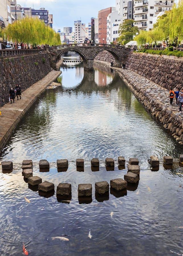 Meganebashi o puente de las gafas en Nagasaki foto de archivo libre de regalías