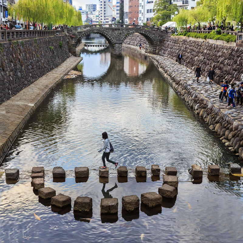 Meganebashi o puente de las gafas en Nagasaki imagen de archivo libre de regalías