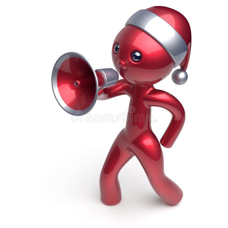Megaphon-Charakternachrichten des Santa Claus-Hutmannes sprechende lizenzfreie abbildung