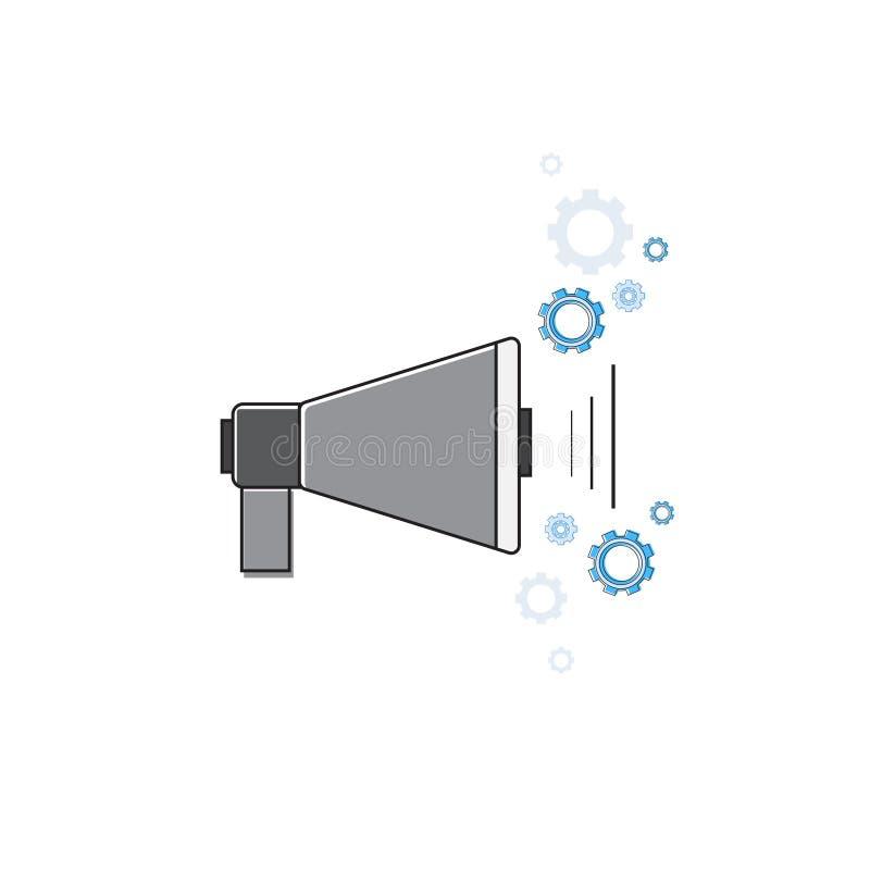 Megaphon-Digital-E-Mail-Marketing-Ikone verdünnen Linie stock abbildung