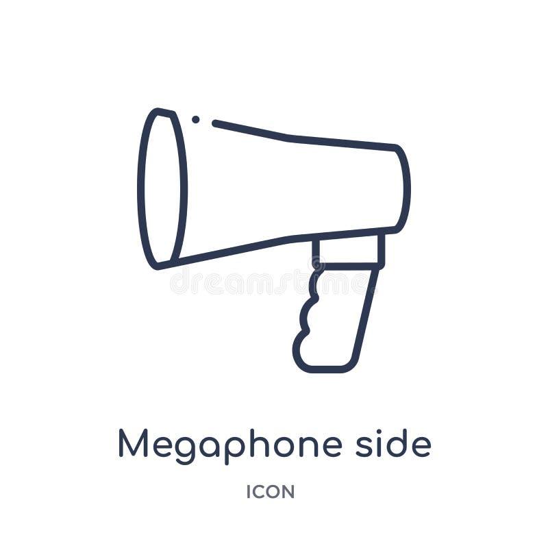 megaphone εικονίδιο πλάγιας όψης από τη συλλογή περιλήψεων εργαλείων και εργαλείων Λεπτό megaphone γραμμών όψης που απομονώνεται  απεικόνιση αποθεμάτων