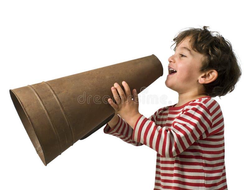 megaphone αγοριών στοκ φωτογραφία