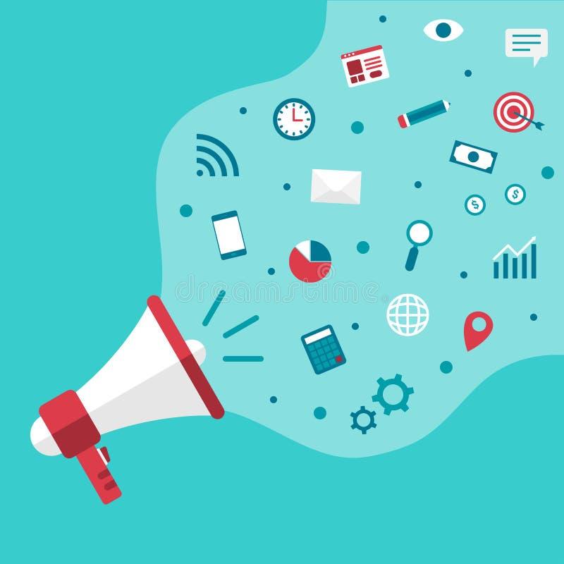 Megaphone αναγγέλλει διάνυσμα επιχειρησιακού το ψηφιακό μάρκετινγκ ελεύθερη απεικόνιση δικαιώματος