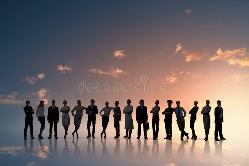 megaphone γυναικείων ατόμων επιχειρησιακού καφέ ομάδα στοκ εικόνα