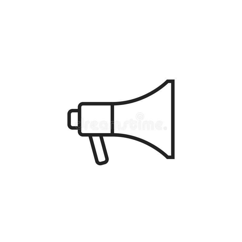 Megaphone εικονίδιο, σύμβολο ή λογότυπο περιλήψεων διανυσματικό απεικόνιση αποθεμάτων